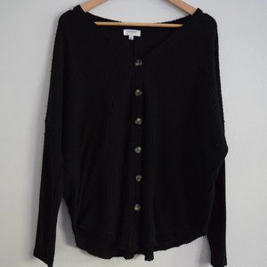 Umgee Waffle Knit Button Front Cardigan